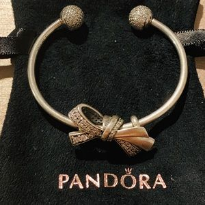 Genuine Pandora Bow Bangle, CZ pave claps
